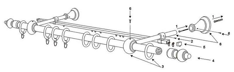 Схема сборки и установки круглого карниза со второй направляющей.